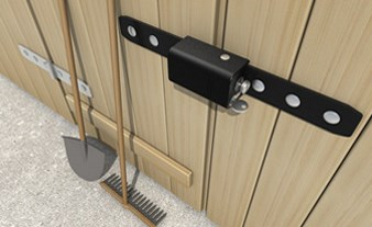 Tokoz Safety Box I, application of the lock securing wooden double doors.