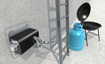 Tokoz Safety Box III, anchor point for chains and steel cables for securing valuable items that may be stored outside the property or in lower security outbuildings.